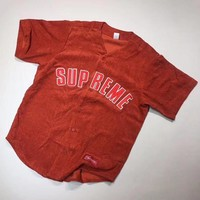 Supreme Corduroy Women Fashion Cardigan Jacket Coat Baseball Jersey