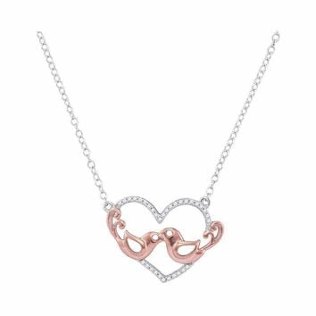 10kt White Gold Women's Round Diamond Heart Rose-tone Lovebirds Pendant Necklace 1-10 Cttw - FREE Shipping (US/CAN)