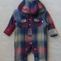 double plaid hoodie romper By Fore!! Axel & Hudson at ShopRuche.com