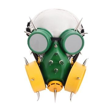 Gothic Resin Green Steampunk Mask & Goggles Set Retro Cosplay Rivets Gas Masks Glasses Punk Halloween Costumes For Women /Men