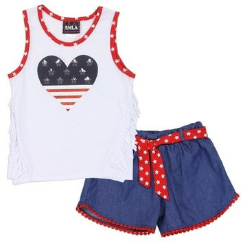 Stars & Stripes Girls Chambray 2PC Short Set. Red White & Blue w/Fringe