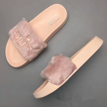 """Puma Rihanna X Puma Leadcat Fenty"" Fashion Casual Rabbit Plush Women Slippers Sandals Shoes"
