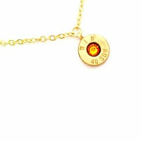 Yellow Topaz November Bullet Birthstone Necklace