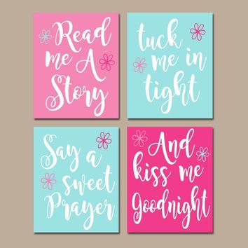 PINK AQUA Nursery Wall Art, CANVAS or Print, Nursery Quote Decor, Read Me A Story, Kiss Me Goodnight, Rhyme Quote, Baby Crib Decor, Set of 4