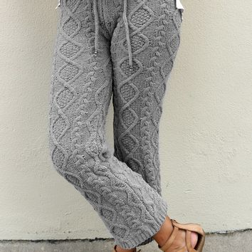 Cable knit pajama pants - Grey by POL Clothing