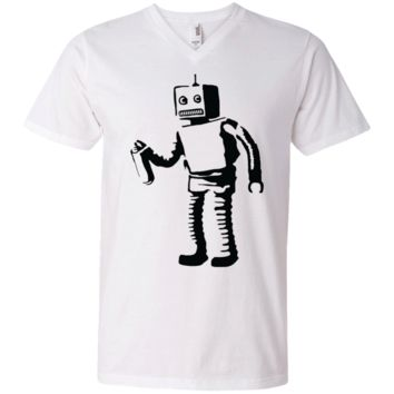 Banksy's Spray Painting Robot Graffiti Men's V-Neck T-Shirt