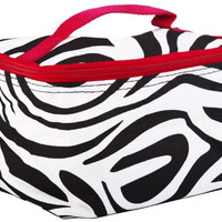 "7"" Zebra Print Cosmetic Womens Teens Travel School Makeup Brush Bag (Red Trim)"