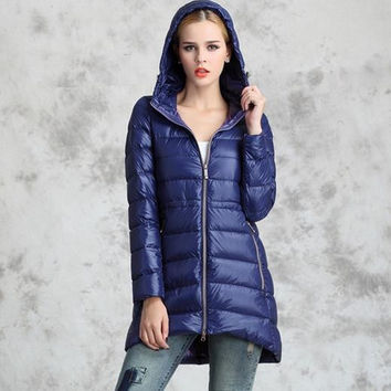 New 2015 Winter Women White Duck Down Jacket Women's Hooded Long Ultra Light Down Jackets Warm Autumn Winter Coat Parkas DX811