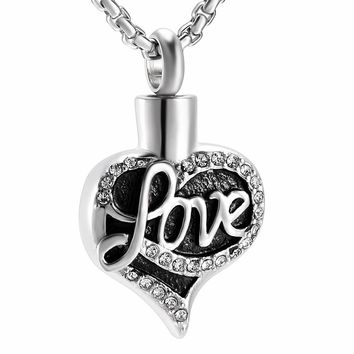 JJ001 Newest Design Love Heart Stainless Steel Cremation Jewelry to Hold Ashes Keepsake Memorial Urn Pendant Necklace For Women