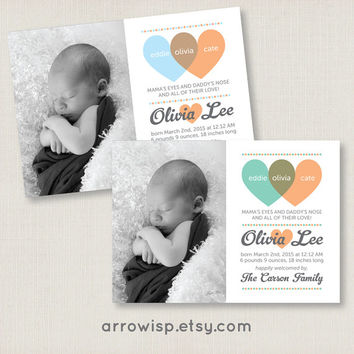 Multiple Colors / Custom Baby Birth Announcement Venn Diagram Photo Card / newborn baby girl & baby boy / Printable personalized modern card