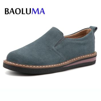 Baoluma Autumn Women Flats Shoes Flat Platform Leather Suede Loafers Casual Shoes Slip On Creepers Lady Shoes Oxford Mujer