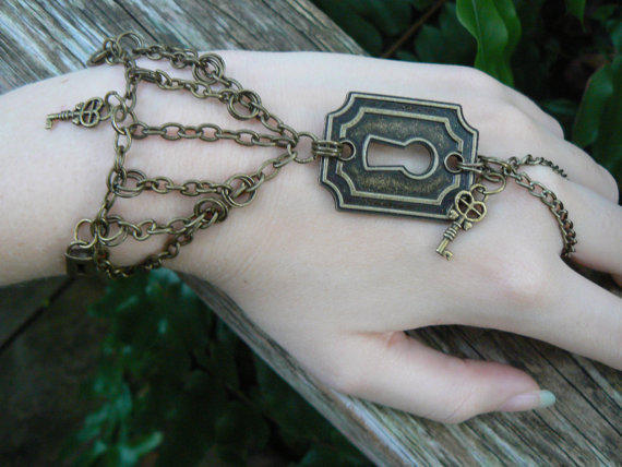 steampunk lock and key slave bracelet keyhole keys padlocks and chains in steampunk goth fantasy boho and style