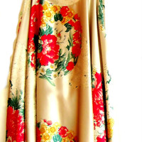 Flower silk dress, full skirt