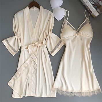 New Bathrobe Set Ice Silk Sexy Pajamas Female Long Gowns For House Robe Clothes