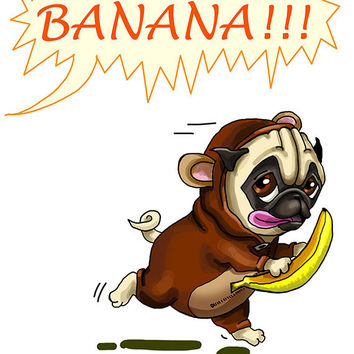 "Funny card with Pug-monkey. Banana. Printable greeting card, Instant Download 5 x 7"" JPG file. Funny sketch drawing."