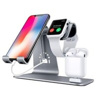 DCK4S2 Bestand Bestand-HO6-Grey 3 in 1 Apple iWatch Stand, Airpods Charger Dock, Phone Desktop Tablet Holder for Airpods, Apple Watch/ iPhone X/8 Plus/8/7 Plus/ iPad,Space Grey(Patenting, Airpods Charging Case NOT Included )
