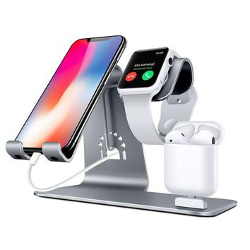 LMFON2D Bestand Bestand-HO6-Grey 3 in 1 Apple iWatch Stand, Airpods Charger Dock, Phone Desktop Tablet Holder for Airpods, Apple Watch/ iPhone X/8 Plus/8/7 Plus/ iPad,Space Grey(Patenting, Airpods Charging Case NOT Included )