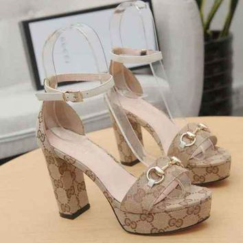 GUCCI Women Fashion Apricot Fabric Ankle Strap 105mm High Heels Shoes