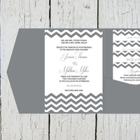 Chevron Pocket Wedding Invitation Template Set - Grey Chevron DIY Printable Editable PDF Template Set - Instant Download - DIY You Print