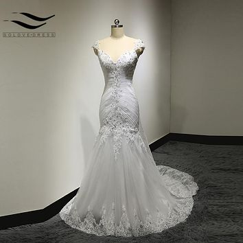 Real Picture New  Bandage Wedding Dresses detachable train Custom Made Design A line v-neck Lace Bridal Gown vestido de noivas