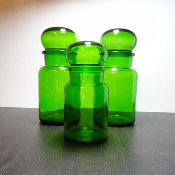 Vintage Green Glass Apothecary Jars with Bubble Top - Set of 3 - Made In Belgium