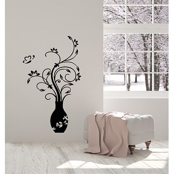 Vinyl Wall Decal Vase Home Decor Butterfly Flowers Leaves Stickers Mural (g2586)
