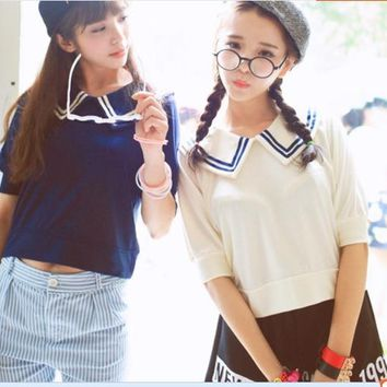 Asian Japanese Tees Soft Sister Navy T-Shirt Sailor Collar Half Sleeve Lovely White Girls Shirt  Women Fashion Casual Tops