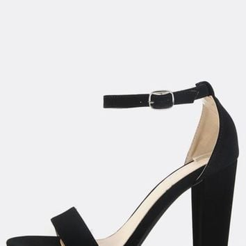 Single Sole Ankle Strap Chunky Heels BLACK | MakeMeChic.COM
