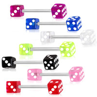 316L Surgical Steel Nipple Bar with UV Coated Acrylic Dice