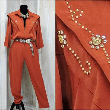 Vintage 80s jumpsuit / One Piece / Burnt Sienna / Beaded Gold and Crystal / High Waisted / Zip Front / 80s party  / size M / 7 /8