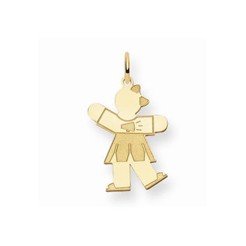 14k Yellow Gold Cheerleader Girl Kiss Charm