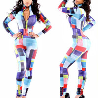 Multi Color Zip Collar Long Sleeve Bodycon Jumpsuit