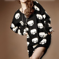 Oversize Skull Print T-shirt for Women