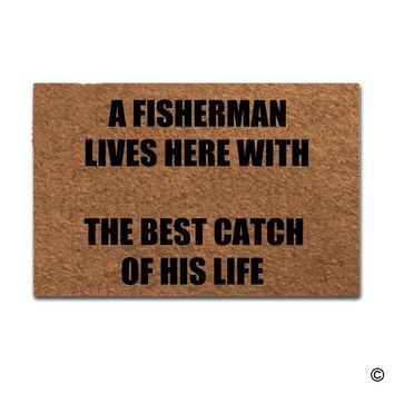 Autumn Fall welcome door mat doormat  Entrance Mat Funny  Home Office Decorative  Indoor A Fisherman Lives Here With The Best Catch Of His Life AT_76_7