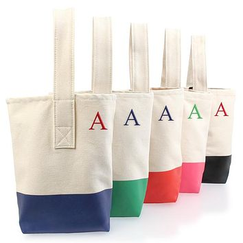 Personalized Green Color-Dipped Wine Tote Bag