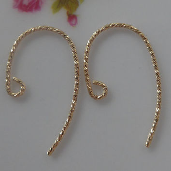14k Gold Filled Sparkle Bass Clef Ear Wire, 20.5 gauge, French Hook Ear wire, 12x20mm