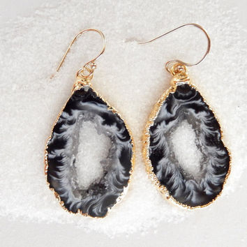 Geode Slice Earrings 14K Gold Agate Druzy Freeform Black White Crystal - Free Shipping OOAK Jewelry