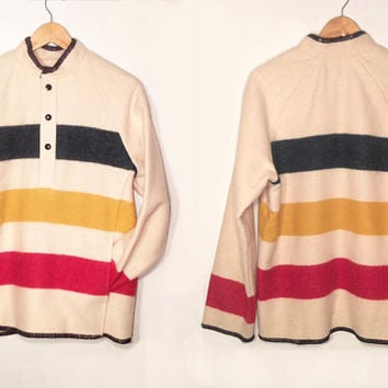Vintage Land's End Striped Southwestern Jacket Poncho || Size M