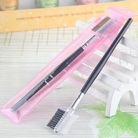 2 pcs Trustful Eyebrow Eyelash DualComb Extension Brush Comb Cosmetic Makeup Tool