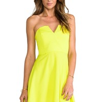 Sheinside Women's Yellow V Wire Strapless Loose Dress