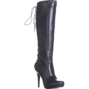 TS35 Lanee Wide Calf Lace Up Knee High Boots, Black, 6 W US