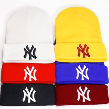 f8af90768e0 NY NEW YORK Beanie Hats Elastic Rib Knit Beanie Hats