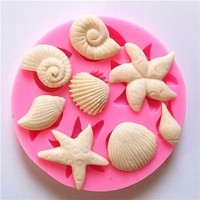 Silicone Shellfish Starfish Shell Soap Mould Cookie Candy Baking Mold Mould Crafts DIY Kitchen soap Tools Home Decor