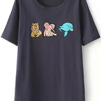 Navy Short Sleeve Animal Embroidered T-Shirt