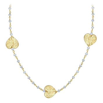 "CHG-201-RM-18"" 18K Gold Overlay Necklace With Rainbow Moonstone"