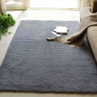 80x120cm Long Fluffy Anti-skid Floor Mat Shag Area Rug Home Door Mat for Living Room