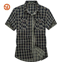 Clothing Spring Summer Fashion Men Casual Men's Cotton Plaid Short Shirt
