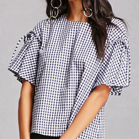 Tie-Shoulder Gingham Top