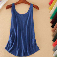 Candy Color Ruched Side Knitted Tank Top