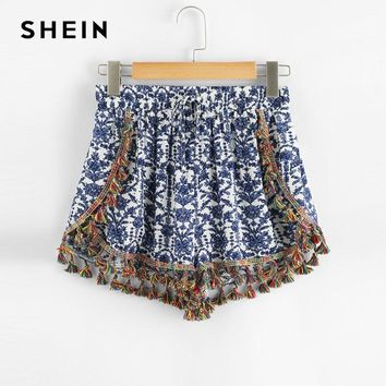 SHEIN Casual Flower Print Tassel Shorts Women Elastic Waist Fringe Straight Leg Shorts 2018 Summer New Vacation Shorts